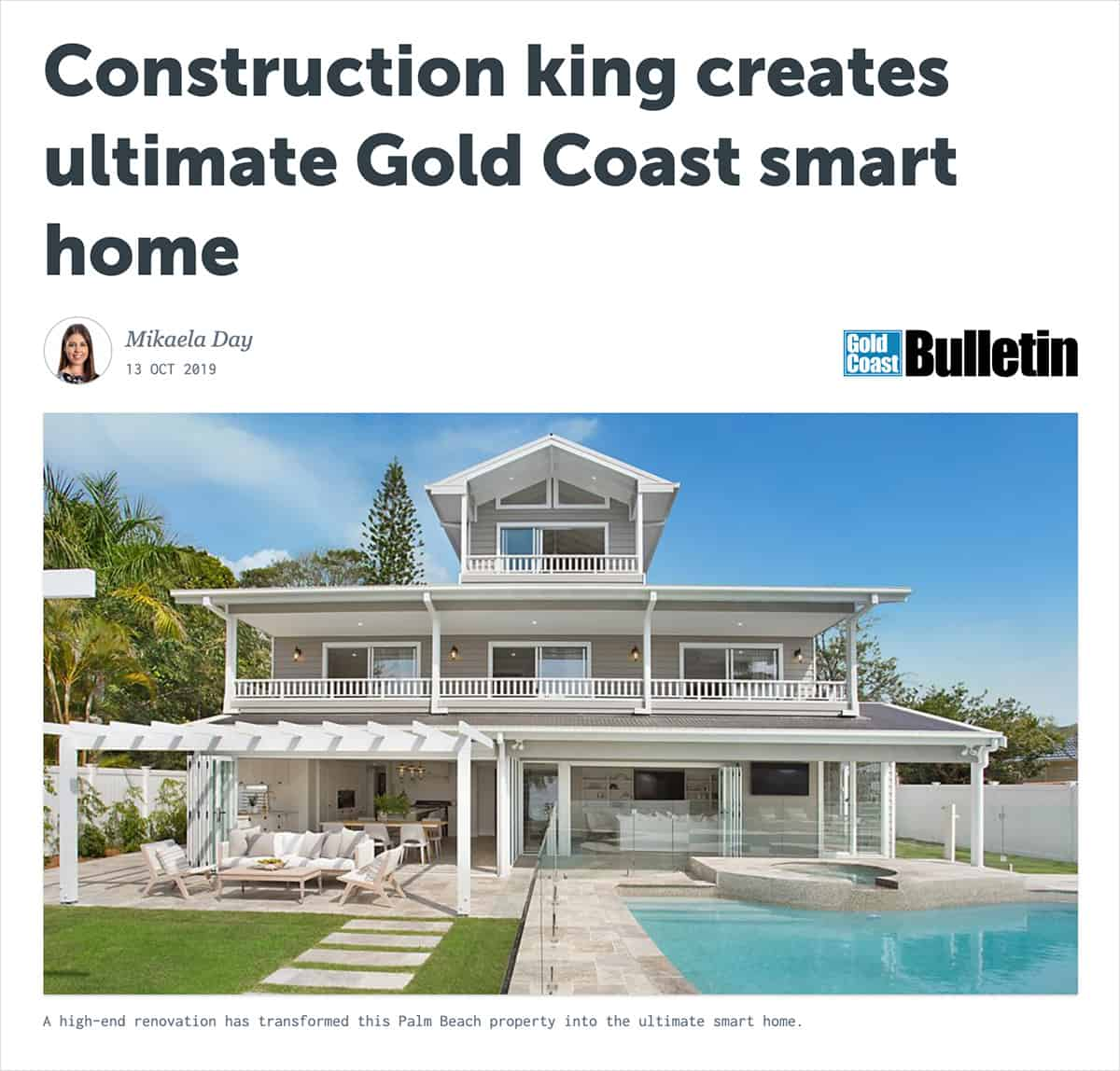 Real Estate.com.au Calls 144 as the 'Ultimate Gold Coast Smart Home'.